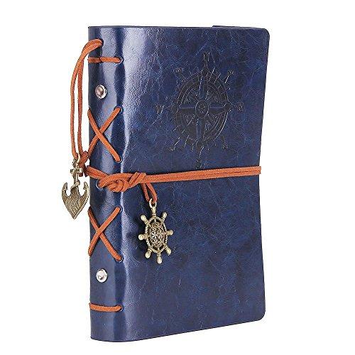 NectaRoy Retro Vintage Nautisch Notizbuch Klassische PU Leder Cover Notebook Notepad Travel Journal Tagebuch Reisetagebuch Nachfüllbare Sketchbook Spirale Ringbuch Tagebuch Leere Seiten (105x145mm, Blau)