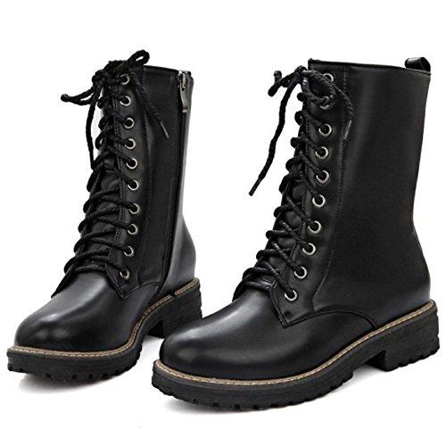 COOLCEPT Damen Flache Combat Boots Schnueren Kurzschaft Stiefel Schwarz