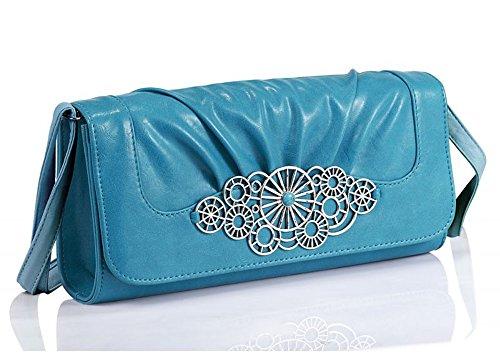 Lovely Lauri Vintage Designer Clutch Tasche Retro Design Blau