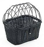 Tigana Fahrradkorb aus Weide mit Gitter und Kissen für Lenker 45 cm - Schwarz (S-S)