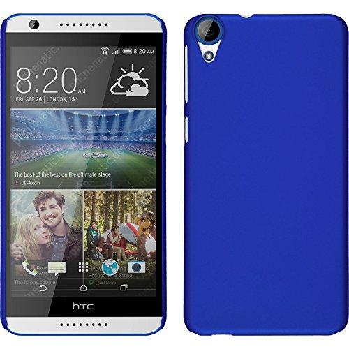 PhoneNatic Case kompatibel mit HTC Desire 820 - Hülle blau gummiert Hard-case + 2 Schutzfolien