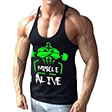 Alivebody Herren Bodybuilding Tank Top Fitness 2cm Strap Stringer Sportshirt Schwarz L