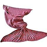 """zuanma de punto Crochet sirena cola manta mantas de dormir para adultos todas las estaciones Soft Cómodo Caliente en sala de estar en sofá tamaño 71""""x 32"""""""