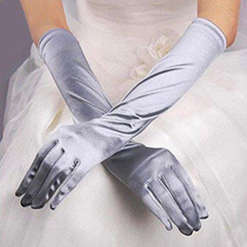 men Satin Lange Handschuhe Opera Hochzeit Brautschmuck Abend Party Ball Kostüm Handschuhe, Grau, Einheitsgröße ()