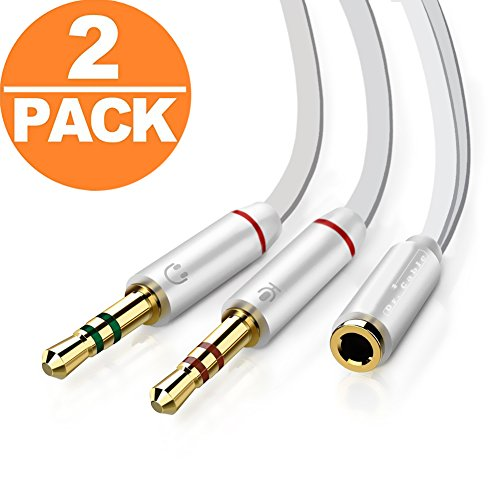 Act 3,5 mm Kopfhörer Audio Splitter Kabel für Lautsprecher Laptop Smartphone 20 cm mit Aluminium Fall Headphone Mic Cable(2Pack)Black (Headphone Mic Cable(2Pack)White)