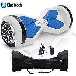 Cool&Fun Patinete Eléctrico Hoverboard Niños 2 Ruedas 8 Pulgada (Blanco azul) (WhiteB)