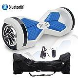 HoverBoard/Skateboard/Gyropode Éléctrique Auto-équilibrage Bluetooth Scooter Trottinette Électrique 8 Pouces,Cool&Fun (Blanc-Bleu)