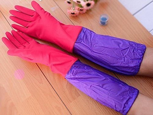NIVERA Reusable Rubber Latex Household Long Sleeves Safety Kitchen Gloves For Dish-Washing, Cleaning, Gardening, Lab Work, Free Size