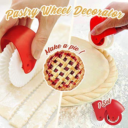 Pastry Wheel Cutter (AmyGline Pizza Pastry Lattice Cutter Pastry Pie Decoration Cutter Plastic Wheel Roller Pizzarad Pizzaschneider Pizza Schneidrad/Gebäck Trennscheibe/Gebäck Rollendes Rad (Rot+Weiß, 2PC))
