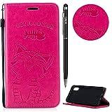 iPhone XR Hülle,iPhone XR Case Leder,WIWJ Prämie PU Klapphülle Leder Brieftasche[Impressum Cat Love Fish Handy Case]Schutzhülle für iPhone XR-Rose rot
