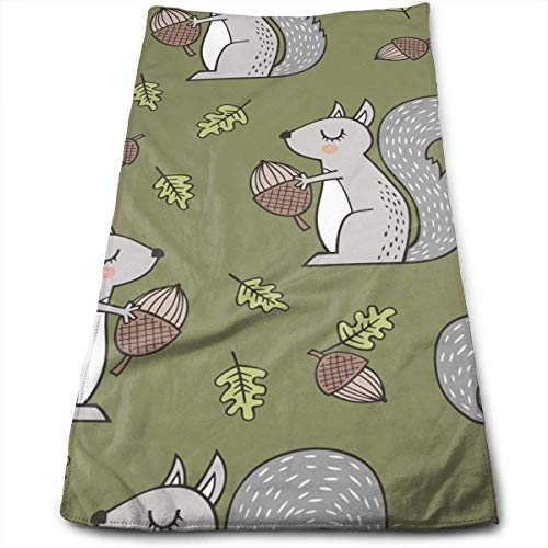 Forest Squirrel Squirrels with Leaves Bath Towels for Bathroom-Hotel-Spa-Kitchen-Set - Circlet Egyptian Cotton - Highly Absorbent Hotel Quality Towels -