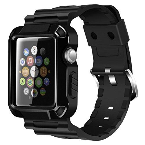 Apple Watch Band, iitee Rugged Schutzhülle iWatch und Band Gurt mit Integriertem Displayschutz für Apple Watch Serie 3/2/1
