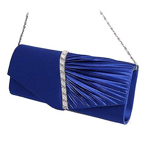 Dairyshop Womens Plissee verzierte Satin Abend Beutel Hochzeits Party Umschlag Beutel Kupplungs Handtasche (Königsblau)