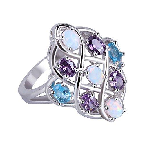 KELITCH Ringe für Damen Solitärring Männer Multi Halbedelsteine Lila Blau Kristall Opal Windend Ring Versilbert - Größe 9 (59mm)
