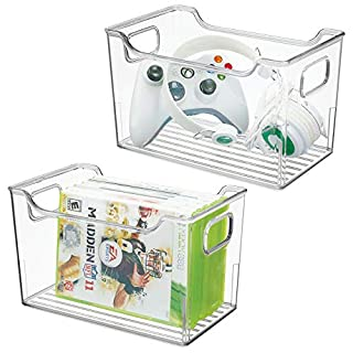 MetroDecor mDesign Set of 2 Household Storage Box – Plastic Container for Organising Items around the Home – Ideal Bedroom Storage for Video Games, DVDs, Toys and More – Clear