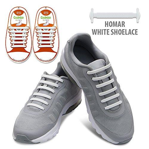 Homar No Tie Lacci per scarpe per bambini e adulti - Impermeabile in silicone elastico piatto Laces Athletic scarpa da corsa con multicolore per Scarpe Sneakerboots bordo e scarpe casual (Kid Size White)
