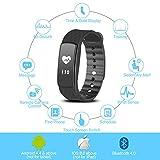 Herzfrequenz Fitnessarmband, Fitness Tracker mit Pulsmesser Bluetooth 4.0 Smart-Herzfrequenz Monitor Armband Schrittzähler Schlafanalyse Aktivitätstracker Kalorienzähler Schlaftracker, IP67 Wasserdichte Aktivität Tracker für Android 4.4, iOS 8.0 oder höher Smartphones, von AGPTEK, Schwarz - 5