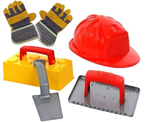 KSS Sandspielzeug Set Maurer Helm, Sandform Stein, Maurerkelle, Putzkelle, Arbeitshandschuhe für Kinder von 3-10 Jahren Strandspielzeug