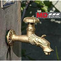 Wasserhahn Messing Gartenschlauch-Halter Gusseisen Jugendstil Schlauchhalter