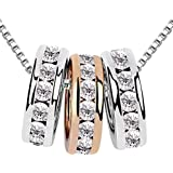 Quadiva E! Collana da donna con ciondolo a 3 anelli (colore: oro bianco/oro rosa, oro rosa 18 carati), tutti i tre anelli son
