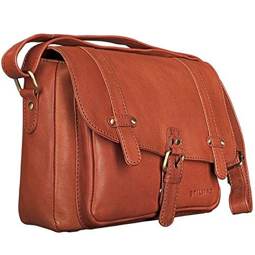 STILORD 'Lara' borsa donna a tracolla vintage in vera pelle formato piccolo Borsetta a bauletto da ragazza marrone per iPad Tablet da 10.1 pollici Cartella in cuoio, Colore:siena - marrone cognac-marrone