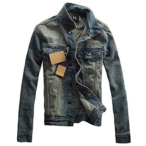Uomo Vintage Giacca di Jeans, Giubbotto Manica Lunga Cappotto Slim Fit Come Immagine L