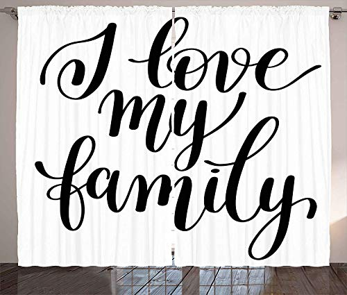 FAFANIQ Family Curtains, I Love My Family Phrase Hand Writing in Black...