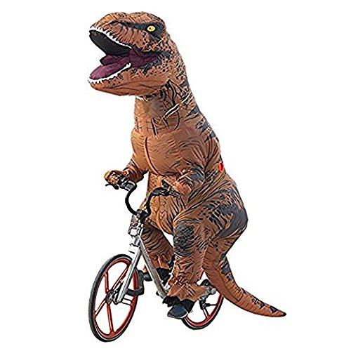 Ohlees Hommes Men T-Rex Inflatable Dinosaur Costume Adult Costume de Dinosaure gonflables Adulte Partie (Brown)