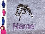 Kinder Kapuzen Bademantel mit A Horse Head Logo und Namen Ihrer Wahl in Royal Blau. Alter 2, 4, 6, 8, 10oder 12, 100 % Terry-Baumwolle, königsblau, 140