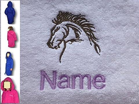 EFY Peignoir de bain à capuche enfant personnalisable avec motif tête de cheval et nom Rose 2, 4, 6, 8, 10 ou 12ans -, rose, Age 12