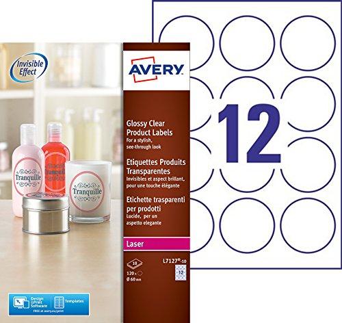 Avery L7127-10 Etiquette adhésive Transparent