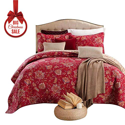 mixinni® Rot Blumen Druckstoff 100% Baumwolle Tagesdecke Gesteppte Decke Sommerdecke Patchwork Tagesdecke Idyllisch Bettwäsche Set Steppdecke Bettüberwurf Bettdecke Quilt 240x270cm (Bettdecke Bettüberwurf Set)