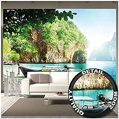 Idea Regalo - GREAT ART Fotomurale - Barca da Pesca in Baia Tropicale - Decorazione Murale Vacanza Viaggio Spiaggia Paradise Travel Beach Bay Natura Isola Mare Carta da Parati (336 x 238 cm)