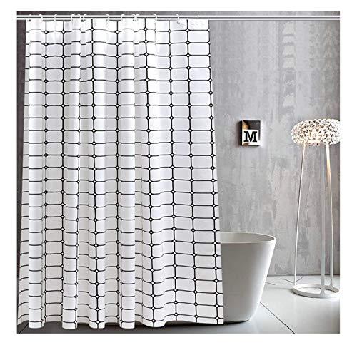 Aeici Duschvorhang 180X180CM Gitter Polyester Badvorhang für Fenster Schwarz Weiß