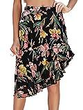 Terryfy Damen Chiffon Rock Midi Volant Sommer Elegant High Waist Blumen Boho Asymmetrischer Skirt