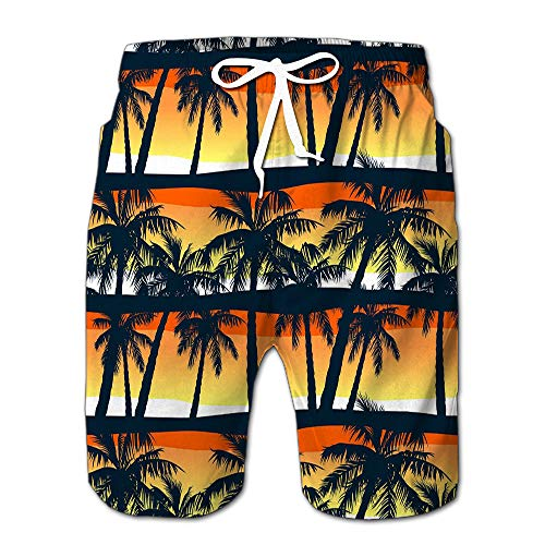 Mens Slim Fit Quick Dry Short Swim Trunks Tropical Palms Trees Sunset In Swimsuit Or Athletic Shorts Adults Boys L - Palm Tree Swim Trunks