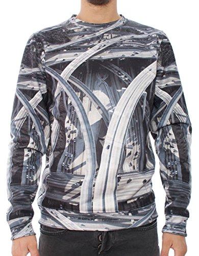 Iuter Poly Printed Polyester Crewneck Sweater uomo, felpa, grigio, Medium EU