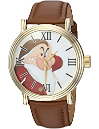 Disney Men's 'Snow White' Quartz Metal Casual Watch, Color:Brown (Model: WDS000342)