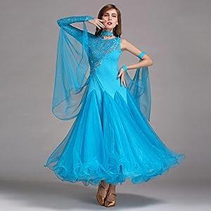5c1f033f331f Damen Standard Tanz Kleider Schnüren Spleißen Asymmetrisch Lange Ärmel  Große Schaukel Für den modernen Tanz Wettbewerb