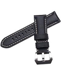 WatchAssassin tela/lona sail-cloth (White-Stitch) correa de reloj negro, 22mm/18mm