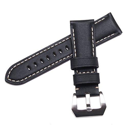 watchassassin-fabric-canvas-style-sail-cloth-pattern-white-stitch-black-watch-strap-22-20mm