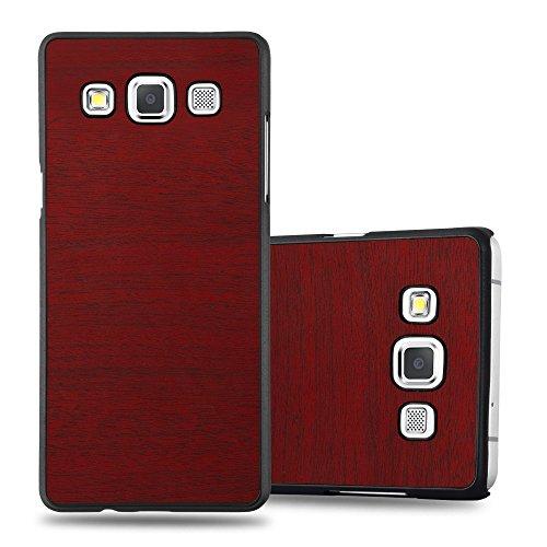Preisvergleich Produktbild Cadorabo Hülle für Samsung Galaxy A5 2015 (5) - Hülle in Woody ROT – Hardcase Handyhülle in Vintage Holz Optik - Schutzhülle Bumper Back Case Cover