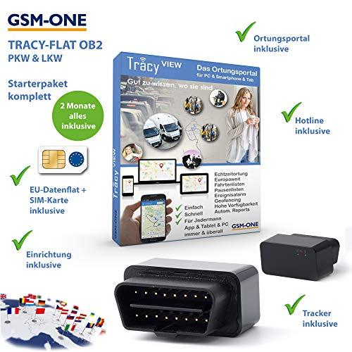 GPS Tracker Tracy-OB2 Sofortstartpaket: Kompakter OBD2 KFZ- und LKW Tracker inklusive EU-Ortung, vorinstall. SIM-Karte, Portal, App fertig vorbereitet. Einstecken, fertig !