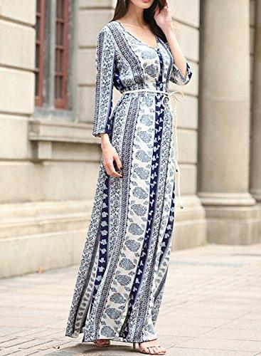 Futurino Damen Blumendruck Boho V-Ausschnitt Schlitz Langes Maxi Kleid Blau