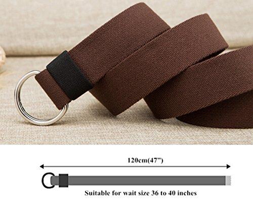 VEASTI 100% Nylon verstellbaren Guertel mit Doppel-Plastikwoelbungen Belt Militaeroptik 47″ Lange 1.5″ weit 120cm (braun) - 3