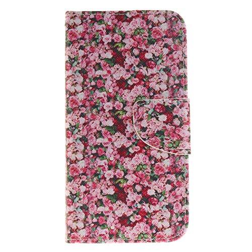 Anlike für Samsung Galaxy J3 /J310 (5,0 Zoll) Hülle / Handyhülle / Schutzhülle / Ledertasche / Tasche / Case / Cover / Flip Brieftasche / Bookstyle mit Standfunktion Kredit Karteneinschub und Magnetverschluß - Päonienblüten