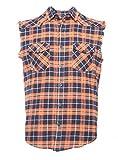 Nutexrol Herren Ärmelloses Kariertes Oversize Hemd Freizeithemd Sleeveless Shirt L