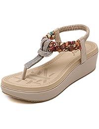 Plataforma Goma Zapatillas Pedrería de Colores Bohemia Sandalias Chancletas Breathable Elasticidad Zapatos Verano Playa Señoras Mujer