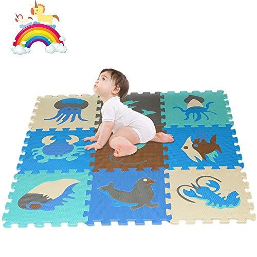 PER 9pcs Eva Foam Spielmatte Puzzle Cartoon Tier Muster Bunte Fliesen Krabbeln Matte für Kinder Kleinkinder 30 × 30 CM-A
