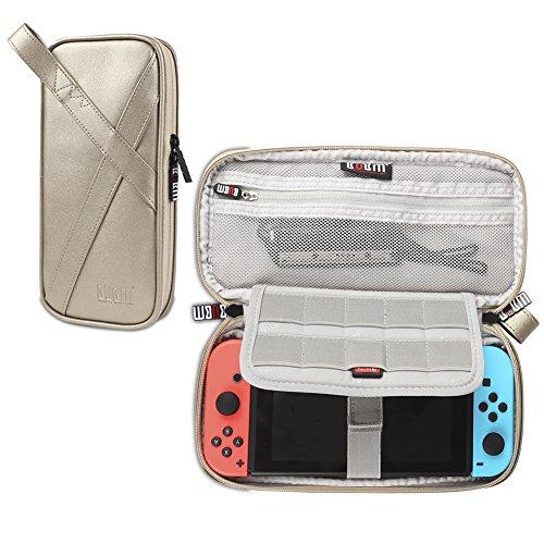 BUBM Kopfhörer Nintendo Schalter Aufbewahrungstasche, portable Travel Organizer Case für NS, Schutz Tragetasche mit Game Card Slots Champagnerfarben / goldfarben (Kleine Video Game Organizer)